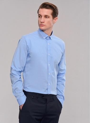 People By Fabrika Likralı Düğmeli Yaka Gömlek Mavi